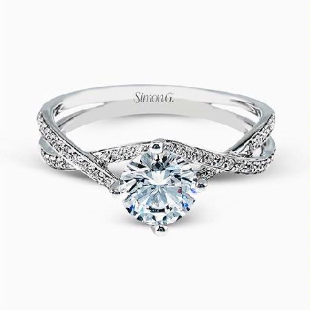 Simon G Diamond 18k White Gold Passion Collection Engagement Ring Setting