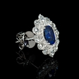 1.68ct Diamond and Blue Sapphire 18k White Gold Cluster Earrings