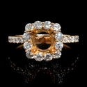 Diamond 18k Rose Gold Halo Engagement Ring Setting