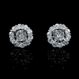 1.30ct Diamond 18k White Gold Cluster Earring Jackets