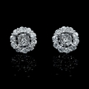 Diamond 18k White Gold Cluster Earring Jackets