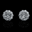 1.00ct Diamond 18k White Gold Cluster Earring Jackets