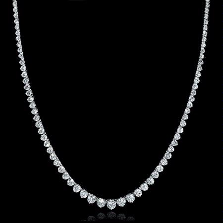 Diamond 18k White Gold Graduated Diamond Tennis Necklace