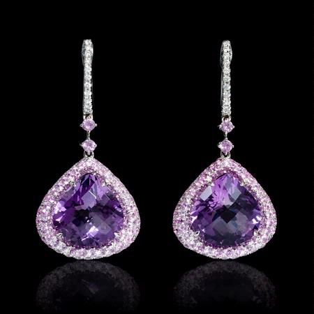 Diamond Pink Sapphire and Purple Amethyst 18k White Gold Dangle Earrings