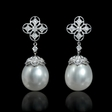 .21ct Diamond and South Sea Pearls 18k White Gold Dangle Earrings