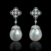 Diamond and South Sea Pearls 18k White Gold Dangle Earrings
