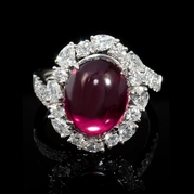Diamond and Rhodolite 18k White Gold Ring