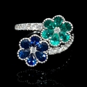 Diamond Blue Sapphire & Emerald 18k White Gold Ring