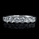 Diamond 18k White Gold 6 Stone Wedding Band Ring