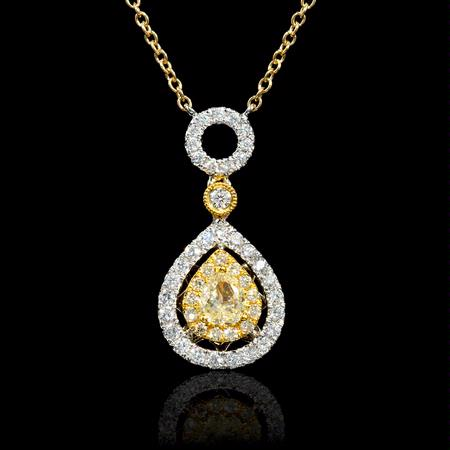 .42ct Diamond 18k Two Tone Gold Pendant Necklace