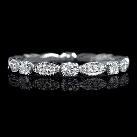 48ct Diamond 18k White Gold Antique Style Eternity Wedding Band Ring