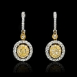 1.33ct Diamond 18k Two Tone Gold Dangle Earrings