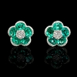 .37ct Diamond and Emerald 18k White Gold Cluster Earrings