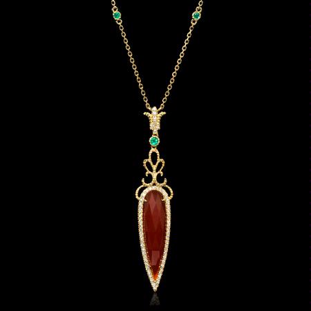 Diamond Emerald and Agate 18k Yellow Gold Pendant Necklace