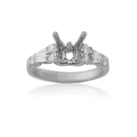 Diamond Antique Style 18k White Gold Engagement Ring Mounting