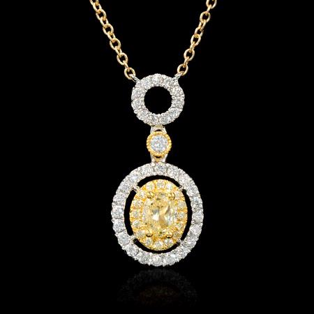 .49ct Diamond 18k Two Tone Gold Pendant Necklace