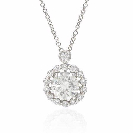 Simon G Diamond 18k White Gold Pendant Necklace