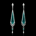 Diamond Agate and Emerald 18k White Gold Dangle Earrings