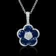 .23ct Diamond and Blue Sapphire 18k White Gold Pendant