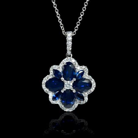 .34ct Diamond and Blue Sapphire 18k White Gold Pendant