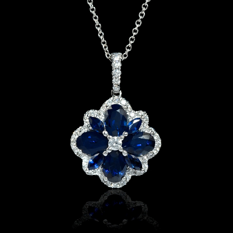 34ct diamond and blue sapphire 18k white gold pendant 34ct diamond and blue sapphire 18k white gold pendant aloadofball Images