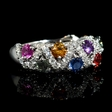 .75ct Diamond and Multi-Colored Sapphire 18k White Gold Ring