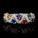Diamond and Multi-Colored Sapphire 18k White Gold Ring