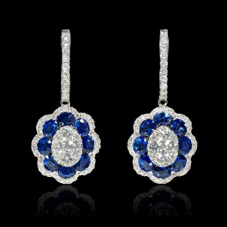 1.14ct Diamond and Blue Sapphire 18k White Gold Dangle Earrings