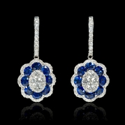 Diamond and Blue Sapphire 18k White Gold Dangle Earrings