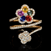 Diamond and Multi-Colored Sapphire 18k Rose Gold Ring