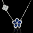 .65ct Diamond and Blue Sapphire 18k White Gold Pendant Necklace