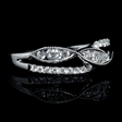 .43ct Diamond 18k White Gold Antique Style Wedding Band Ring