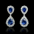 .76ct Diamond and Blue Sapphire 18k White Gold Dangle Earrings