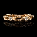 Diamond 18k Rose Gold Antique Style Wedding Band Ring
