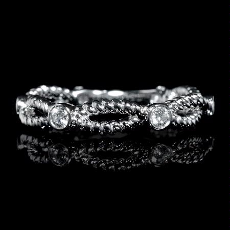 Diamond 18k White Gold Antique Style Wedding Band Ring