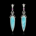 Diamond Pink Sapphire and Amazonite 18k White Gold Dangle Earrings