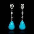 .48ct Diamond and Turquoise 14k White Gold Dangle Earrings
