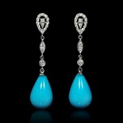 Diamond and Turquoise Drop 18k White Gold Dangle Earrings