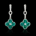 Diamond Emerald 18k White Gold Dangle Earrings