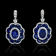 .60ct Diamond and Blue Sapphire 18k White Gold Dangle Earrings