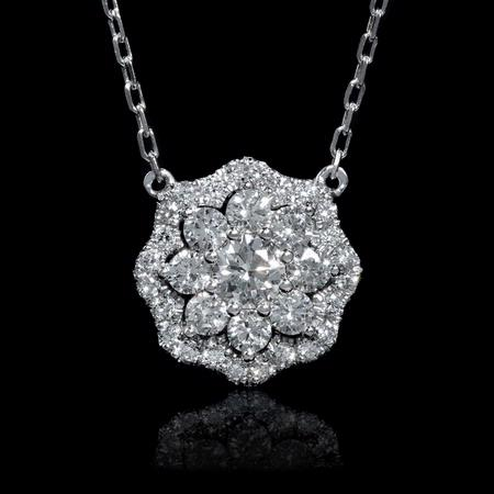 .63ct Diamond 14k White Gold Pendant Necklace
