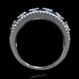 .47ct Diamond and Blue Oval Sapphire 18k White Gold Ring