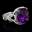 .77ct Diamond and Purple Amethyst 18k White Gold Ring