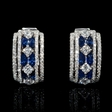 .90ct Diamond and Blue Sapphire 18k White Gold Huggie Earrings