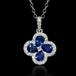 .36ct Diamond and Blue Sapphire 18k White Gold Pendant