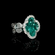 .43ct Diamond and Emerald 18k White Gold Cluster Earrings