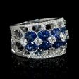.94ct Diamond and Blue Sapphire 18k White Gold Ring