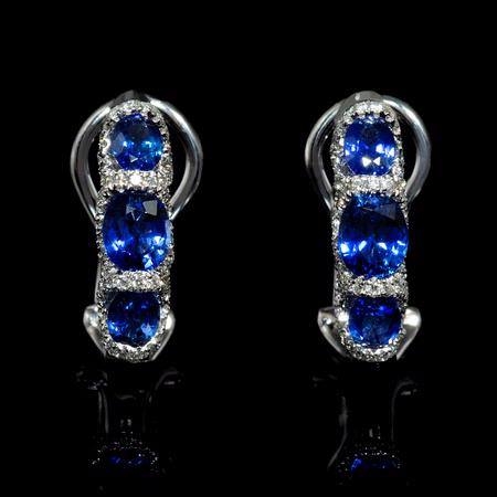 .45ct Diamond and Blue Sapphire 18k White Gold Huggie Earrings