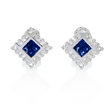 .89ct Diamond and Blue Sapphire 18k White Gold Earrings