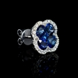 .44ct Diamond and Blue Sapphire 18k White Gold Cluster Earrings